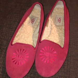 Red Uggs Alloway casual slip on loafers